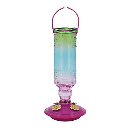 Royal Wing Ombre Rainbow Glass Hummingbird Feeder, HB-0416P2