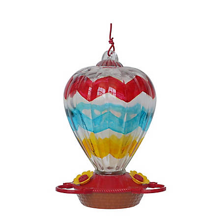 Royal Wing Chevron Hand Painted Balloon Hummingbird Feeder, HB-0730C-2