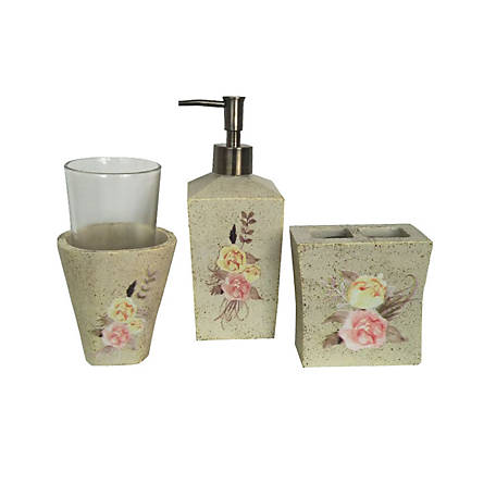 HiEnd Accents Rose Floral 4 pc. Ceramic Bath Set BA1812