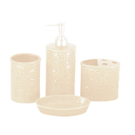 HiEnd Accents 4 pc. Savannah Bathroom Set, Cream, BA4001-OS-CR