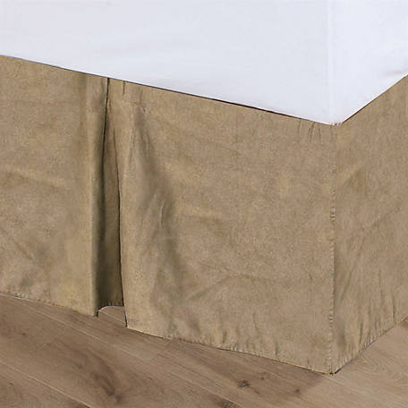 HiEnd Accents Tan Suede Bed Skirt Queen BS1002-QN-OC