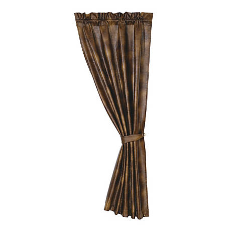 HiEnd Accents Brown Faux Leather Curtain CU1005