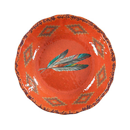 HiEnd Accents Feather Design Melamine Serving Bowl, DI1754SB01