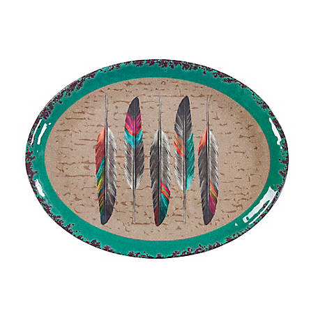 HiEnd Accents Feather Design Melamine Serving Platter, DI1754SP01
