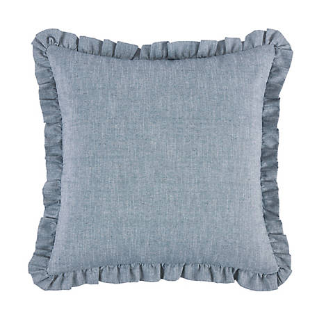 HiEnd Accents Chambray Euro Sham With Ruffle Design FB1751ES