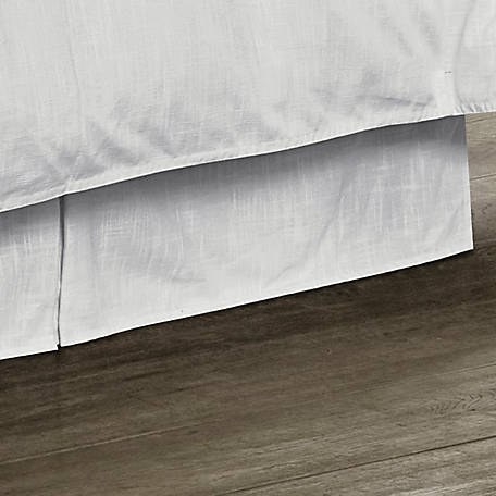 HiEnd Accents Tailored White Linen Bed Skirt FB1755BS-QN-OC