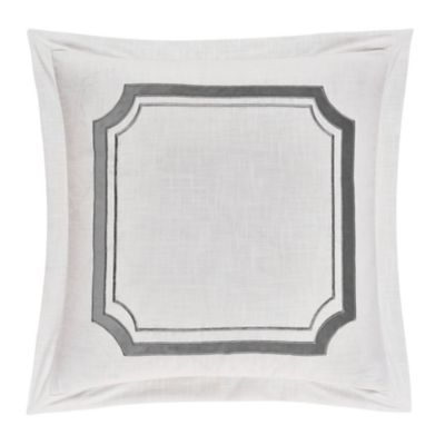Hiend Accents Linen Euro Pillow Sham With Velvet Embroidery White 27 In X 27 In Fb1755es Os Gy At Tractor Supply Co