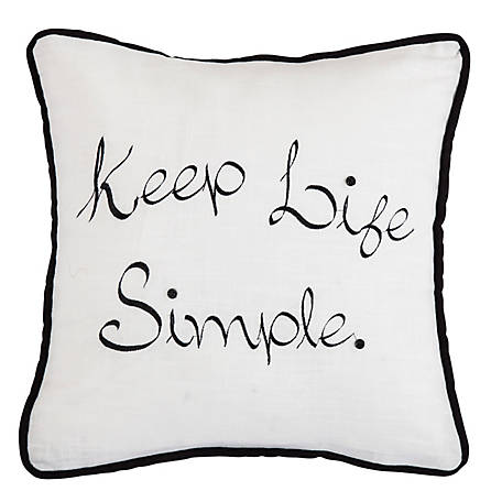 HiEnd Accents Keep Life Simple Embroidery Pillow FB1776P5