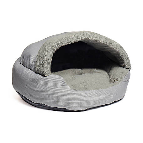 Precious Tails 25HBTN-GRY Plush Fleece Lined Deep Dish Herringbone Pet Cave Bed, 25' x 25' x 5', Gray