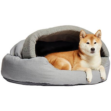 Precious Tails 35HBTN-GRY Plush Fleece Lined Deep Dish Herringbone Pet Cave Bed, 35' x 35' x 5', Gray