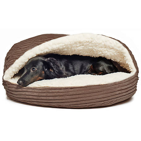 Precious Tails Cozy Corduroy And Sherpa Lined Pet Cave Bed, 18 in.