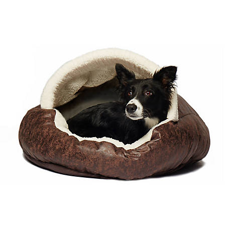 Precious Tails E35VLCB-BRN Vegan Leather Deep Dish Pet Cave Bed, 35 in., Brown