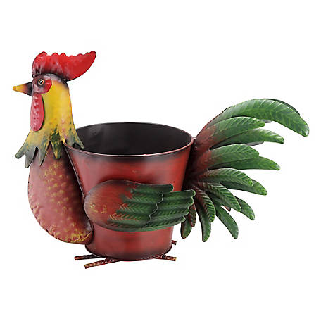 Red Shed Rooster Planter, Red