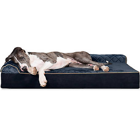 FurHaven 44757505 Quilted Faux Fur & Velvet Goliath Deluxe L-Chaise Dog Bed, 2XL, Dark Blue