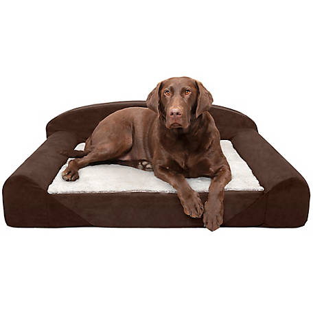 FurHaven Faux Fur and Backed Suede Luxury Edition Sofa Dog Bed