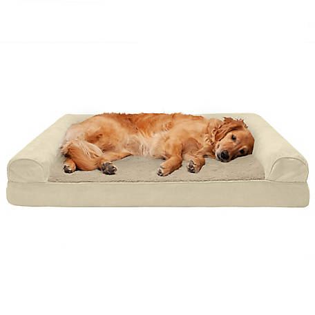 FurHaven Pet Plush and Suede Cooling Gel Sofa Dog Bed