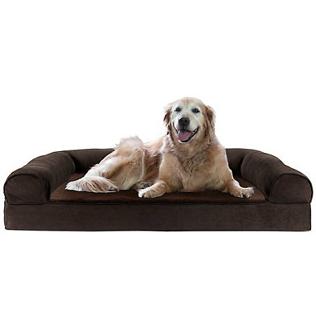FurHaven Pet Faux Fleece and Chenille Soft Woven Cooling Gel Sofa Dog Bed