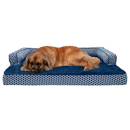 FurHaven Pet Plush and Decor Comfy Couch Cooling Gel Sofa Dog Bed
