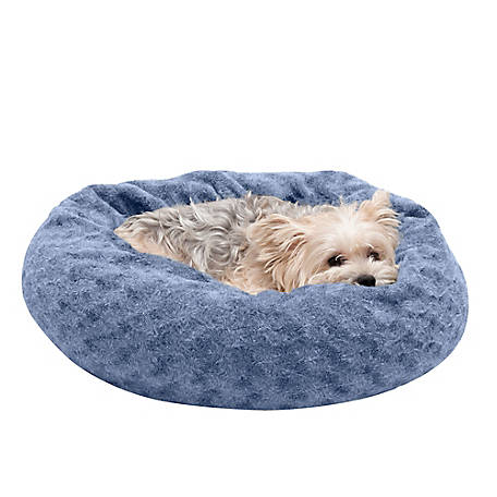 FurHaven Deep Dish Curly Fur Plush Donut Dog Bed
