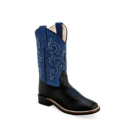 Old West Childrens Leatherette Broad Square Toe Cowboy Boots Black Blue