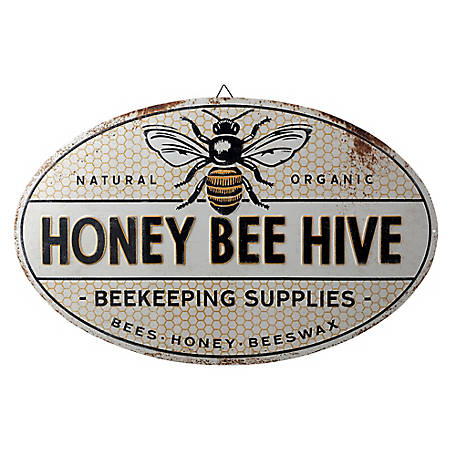 Red Shed Metal Honey Bee Hive Sign