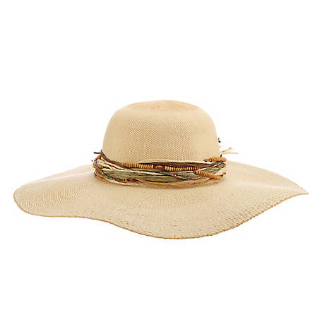 Cappelli Large Brim Bangkok Sun Hat with  Beads, CSW329-NAT