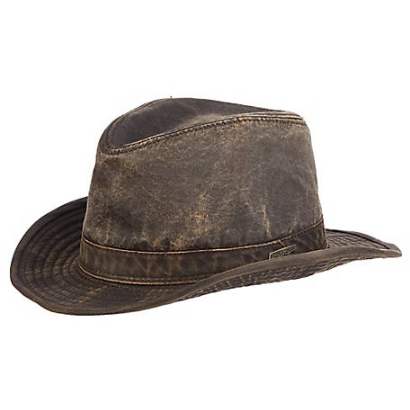 Indiana Jones Weathered Cloth Fedora Hat, Bark, IJ21