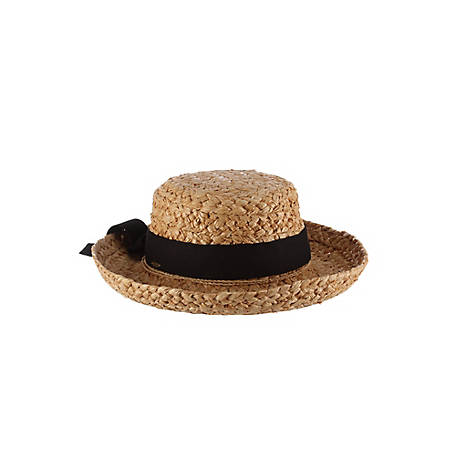 Scala Raffia with Herringbone Bow Hat, L521OS-NAT
