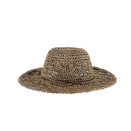 Scala Crochet Seagrass with Wax Trim Hat, LG27-NAT