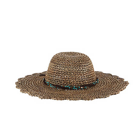 Scala Crochet Seagrass with Bead TrimHat, LG28-NAT