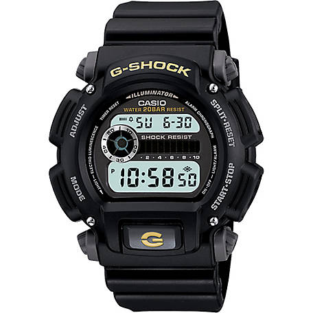 G SHOCK Digital-200M Wr-Yellow Accents, DW9052-1BCG
