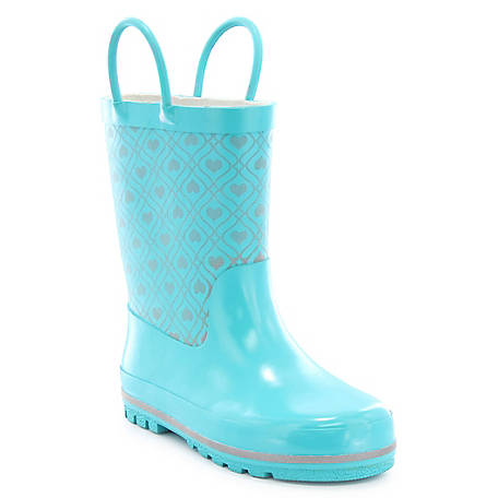 Western Chief Kid's Quilted Heart Reflective Rain Boot, 2410101B