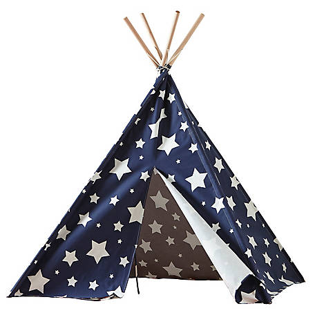 turtleplay Childrens Teepee, Blue with White Stars, TPE0080213010
