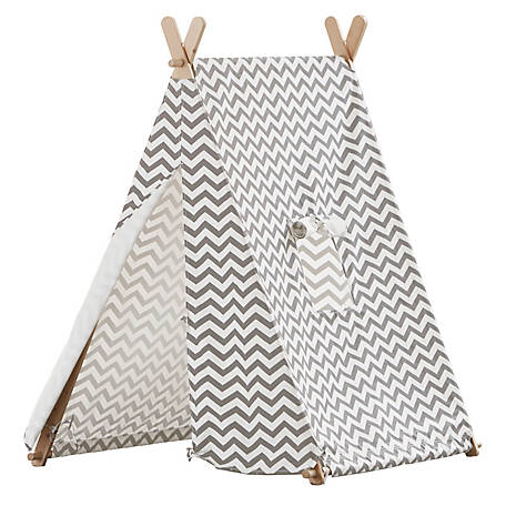 turtleplay Indoor Kids Tent Grey & White Zigzag, TPE0292214010