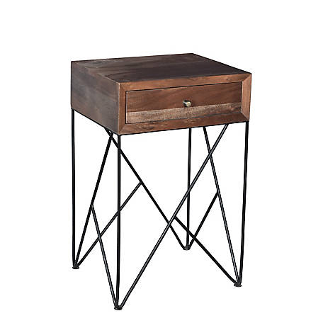 Crestview Collection Bengal Acacia Wood And Metal Accent Table, CVFNR720