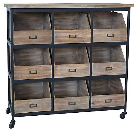 Crestview Collection Industria Metal And Wood Storage Chest, CVFZR5054