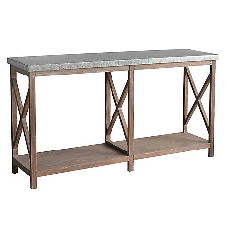 Crestview Collection Newhart Rustic Wood And Metal Console, CVFZR5073