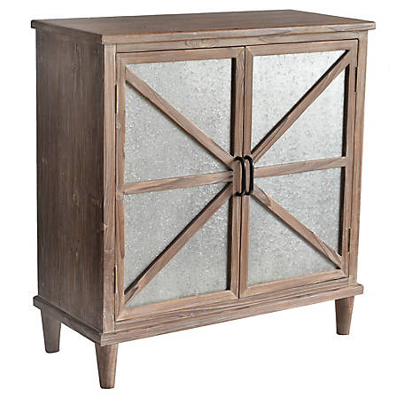Crestview Collection Newhart Rustic Wood And Metal Cabinet, CVFZR5069