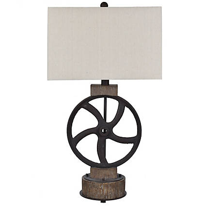 Crestview Collection Mercantile Table Lamp In Rusted Wheel, CVAVP1381