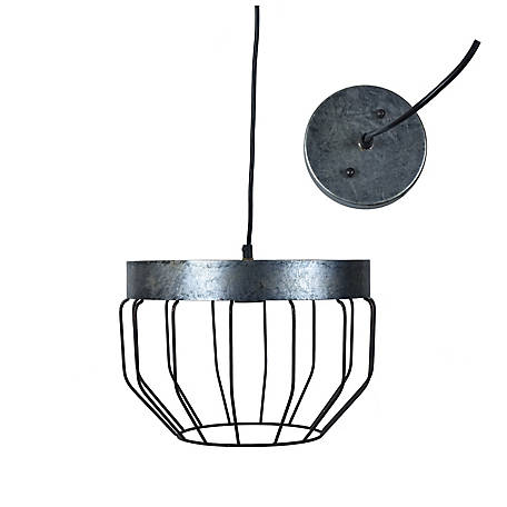 Crestview Collection Hen House Pendant In Galvanized Finish, CVAER1424