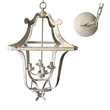 Crestview Collection Camilla 4 Light Chand in Antique White, CVPDA009