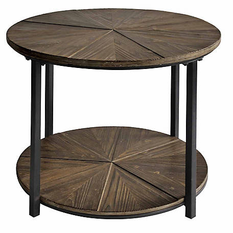 Crestview Collection Jackson Round Rustic Wood End Table, CVFZR1907