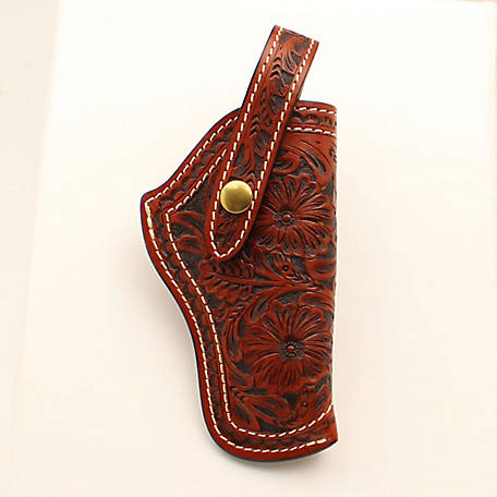 3D Belt Antique Floral Revolver Holster Tan, DHOL111
