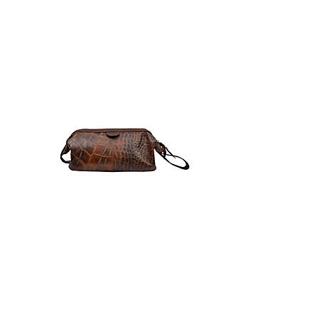 3D Belt Crocodile Shave Kit Bag Brown DSK01