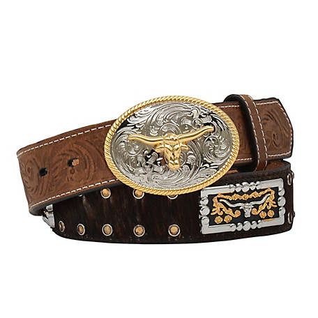 3D Belt Boys Brindle Calf Hair with Conch Brown, D4642