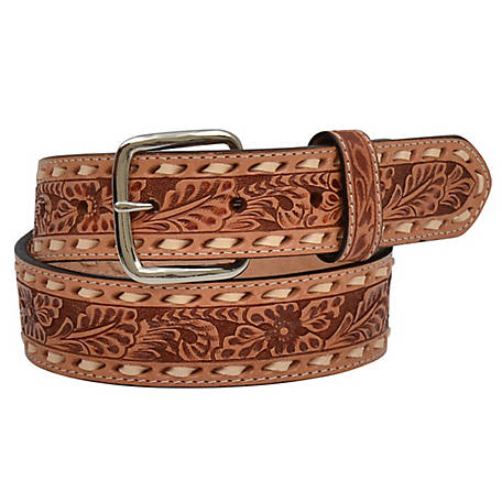 3D Belt Boys Floral Embossed with Natural Inlay D7347
