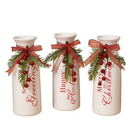 Gerson International 9.5 in. White Dolomite Holiday Vases, Assorted Set of 3, 2302770EC