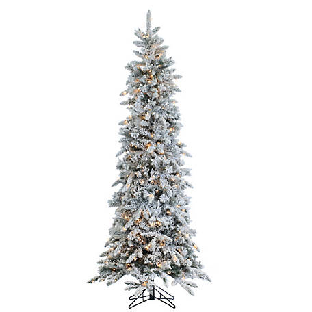 Sterling Tree Company 7.5 ft. Flocked Narrow Pencil Pine with 450 Clear Lights, 5820--75C