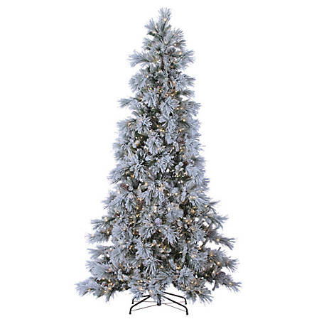 Sterling Tree Company 9 ft. Pre-Lit Lightly Flocked Snowbell Pine Christmas Tree with 900 Twinkling Lights, 5852--90C