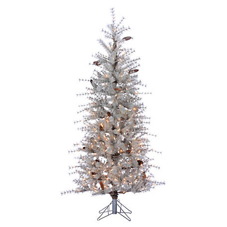 Sterling Tree Company 6 ft. Frosted Sage Hard Needle Slim Christmas Tree with Pinecones and 300 Clear Lights, 6113--60SG